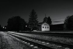 Okna, Ceska Lipa district, Czech republic - October 13, 2017: small train station  in autumnal evening Royalty Free Stock Photography