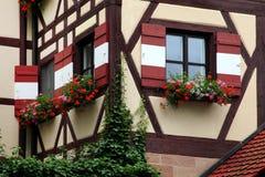 Okno dekorujący z kwiatem w Nuremberg Fotografia Stock