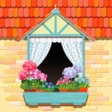 Okno i kwiaty Zdjęcia Royalty Free