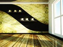 Okno i półki z filiżankami Fotografia Stock