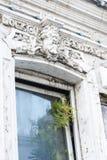 Okno i paproć antykwarska fasada z dekoracyjną maską od tynk mitologicznej istoty zdjęcia stock