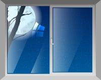 Okno noc jest gwiaździstym księżyc ilustracja wektor