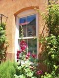 Okno San Felipe De Neri Parafia w Albuquerque zdjęcia royalty free
