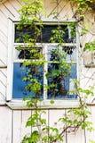 Okno stary drewniany dom na wsi zdjęcia royalty free