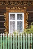 Okno tradycyjny Rosyjski blokhauz Obrazy Royalty Free