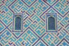 Okno Turkistan mauzoleum, Kazachstan Zdjęcia Royalty Free