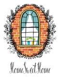 Okno w ściana z cegieł z kwiecistą winietą kaligraficznym w i Obraz Royalty Free