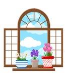 Okno w płaskich stylowych Wektorowych płaskich okno z krajobrazem Obrazy Stock