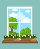 Okno w płaskich stylowych Wektorowych płaskich okno z krajobrazem Miasteczko i drapacz chmur, las Zdjęcia Stock