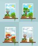 Okno w płaskich stylowych Wektorowych płaskich okno z krajobrazem Miasteczko i drapacz chmur, las Obrazy Royalty Free