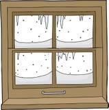 Okno z śniegiem i lodem ilustracji