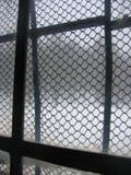 Okno z żelaznymi ochronami z widokiem na zewnątrz lasu z śniegiem w zimie Obrazy Royalty Free