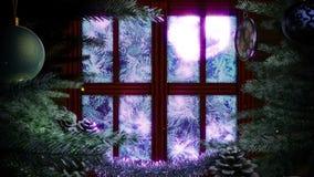 Okno z abstrakcjonistyczną choinką
