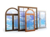 Okno z odbiciami niebo Zdjęcia Royalty Free