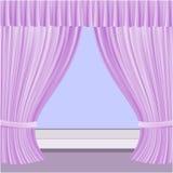 Okno z zasłonami Obraz Stock