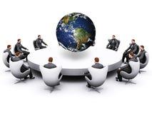 około biznesmena posiedzenia stołu ilustracji