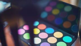 Oko cienia paleta na visagist worklpace kosmetykach wystawa, piękno moda zbiory