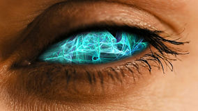Oko irys z abstrakcjonistycznym neural pyłu wzorem Fotografia Stock
