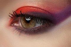 Oko jaskrawy nowożytny makijaż. Piękny żeński oko Zdjęcia Stock