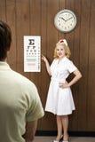 oko mapy człowiek kobiecej pielęgniarka wskazuje się Obrazy Royalty Free
