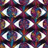 Oko na muzycznym kolorowym bezszwowym wzorze Zdjęcie Stock