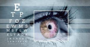 oko ostrości pudełka szczegół, linie i oko próbny interfejs Zdjęcie Stock