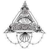 Oko ostrosłupa czerń ilustracja wektor