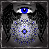 Oko, skrzydła i mandala, ilustracja wektor