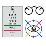 Oko testa listu plakat z szkłami i oko ikoną i Zdjęcie Royalty Free