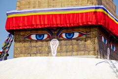 Oko Tybetańska stupa Boudnath Obrazy Royalty Free