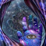 Oko w ludzkiej palmie ilustracja wektor