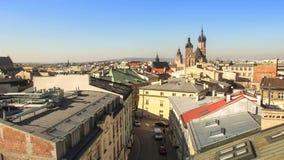 Oko widok dach na dziejowym centre Krakow zdjęcie wideo