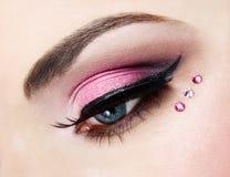 Oko zamknięty z pięknym makijażem up Obrazy Royalty Free