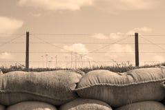 Okopy śmiertelni wojny światowa jeden worek z piaskiem w Belgia Zdjęcie Royalty Free
