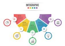 Okrąża infographic szablonu pięć opcję, przetwarza lub kroczy dla biznesowej prezentaci, Fotografia Royalty Free