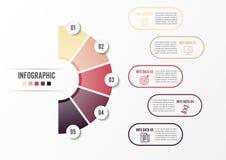 Okrąża infographic szablonu pięć opcję, przetwarza lub kroczy dla biznesowej prezentaci, Zdjęcia Royalty Free