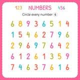 Okrąża każdy numerowy Sześć Liczby Dla dzieciaków Worksheet dla dziecina i preschool Trenować pisać liczbach i liczyć ćwiczenie royalty ilustracja