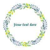 Okrąża ramę, wianek gałąź z zieleni, błękita i cytryny liśćmi, Zdjęcie Royalty Free