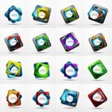Okrąża sieć układ sieci sztandar, guzik lub ikona z tekstem, - cyfrowe techno sfery - Glansowanego zawijasa koloru abstrakcjonist Zdjęcia Royalty Free