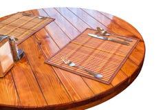 okrągły stół drewniany zdjęcia stock