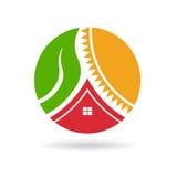 Okrąg dom, roślina i słońce życia, Obrazy Royalty Free