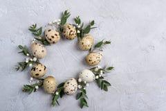 Okrąg granica dla Easter zaproszenia lub karty Wielkanocny wianek z Easter liścia i przepiórki sprigs eukaliptus obrazy stock