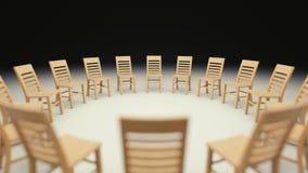Okrąg krzesła w Ciemnej przestrzeni ilustracji