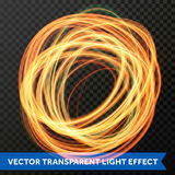 Okrąg lekkiej linii zawijasa złocisty skutek Wektorowy błyskotliwości światła ogienia racy ślad royalty ilustracja