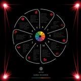 Okrąg linie Infographic 10 Ustawiają ciemnego tło z czerwienią l ilustracja wektor