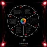 Okrąg linie Infographic 6 Ustawiają ciemnego tło z czerwonym li ilustracja wektor