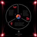 Okrąg linie Infographic 3 Ustawiają ciemnego tło z czerwonym li ilustracji