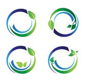 Okrąg opuszcza ekologia logo, rośliny wodna sfera Ustawiająca round ikony symbolu wektorowy projekt ilustracja wektor