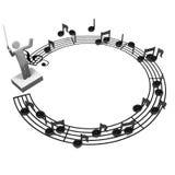 Okrąg Pięcioliniowa notacja I musicalu dyrygent Fotografia Royalty Free