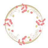 Okrąg rama dekorująca z zieleń liśćmi i czerwonymi jagodami Zdjęcia Royalty Free